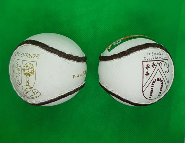 Personalised balls with club crest logo on sliotar