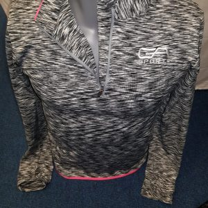 Ladies quarter zip top - grey with pink trim GA Sports