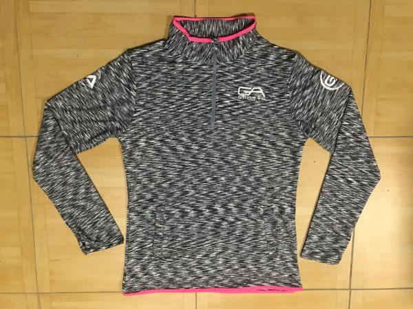 Ladies quarter zip top - grey with pink trim GA Sports
