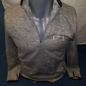 Mens quarter zip top - grey with black trim GA Sports